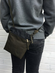 Black and Forest Waxed Canvas Cross Body Bag, Vegan Purse | Aris Bags - 1