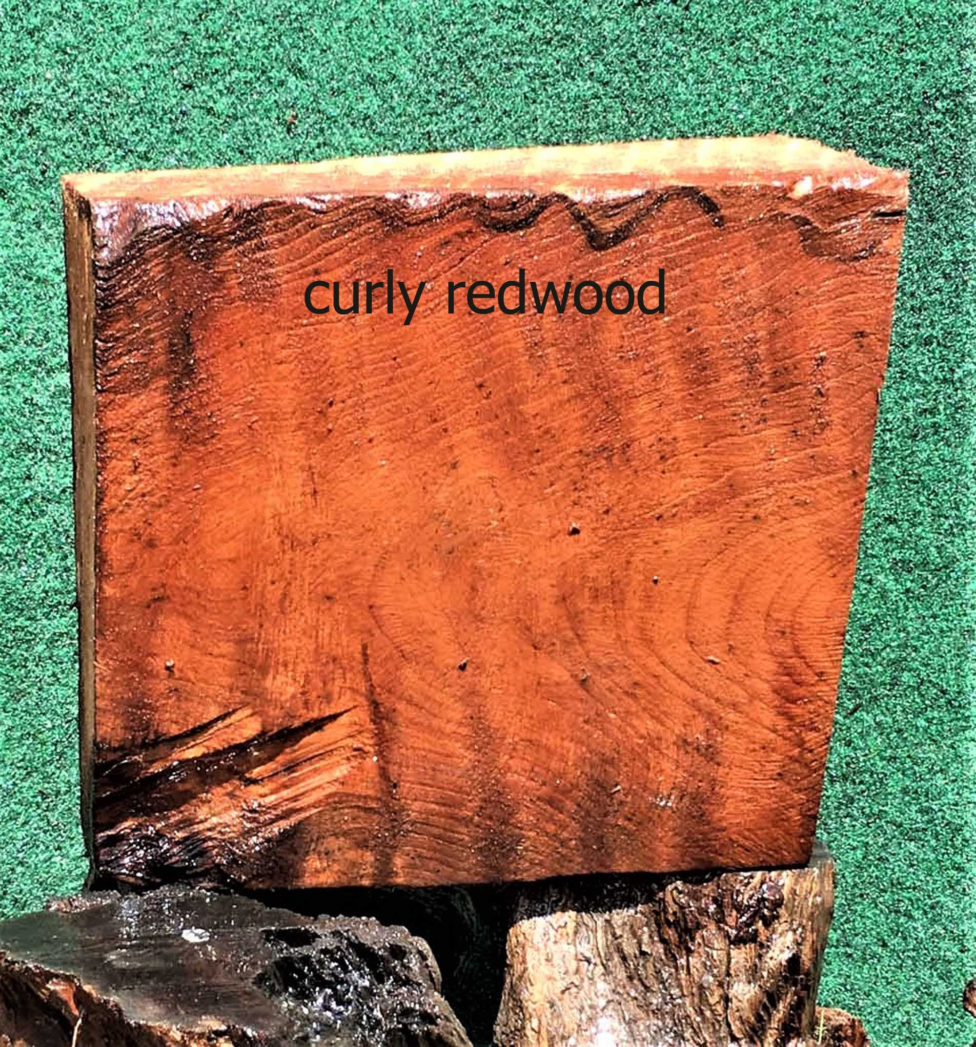 wood turning | curly redwood | craft wood - bl1442