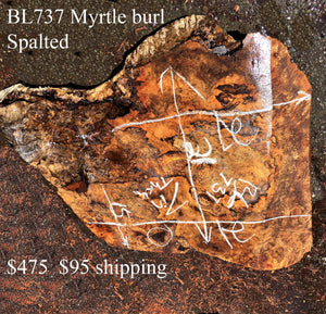 bowl turning | Myrtle burl block | craft woods -- bL737