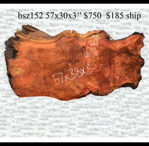 live edge table | rustic furniture | redwood burl - bsz152