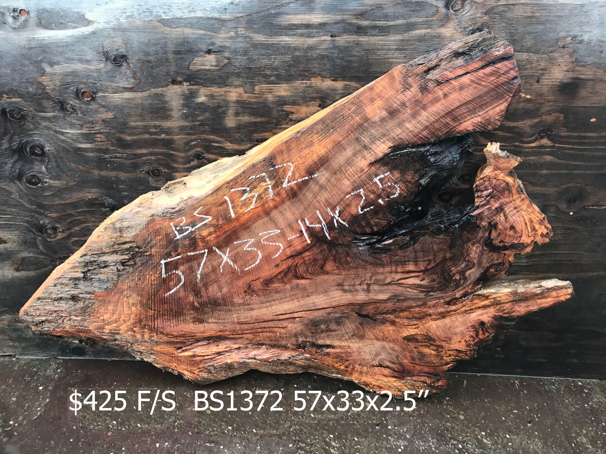 Live Edge Slab | Redwood burl |,rustic furniture - bs1372