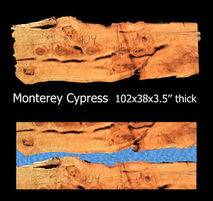 River table | live edge | Monterey Cypress slab - cypress1