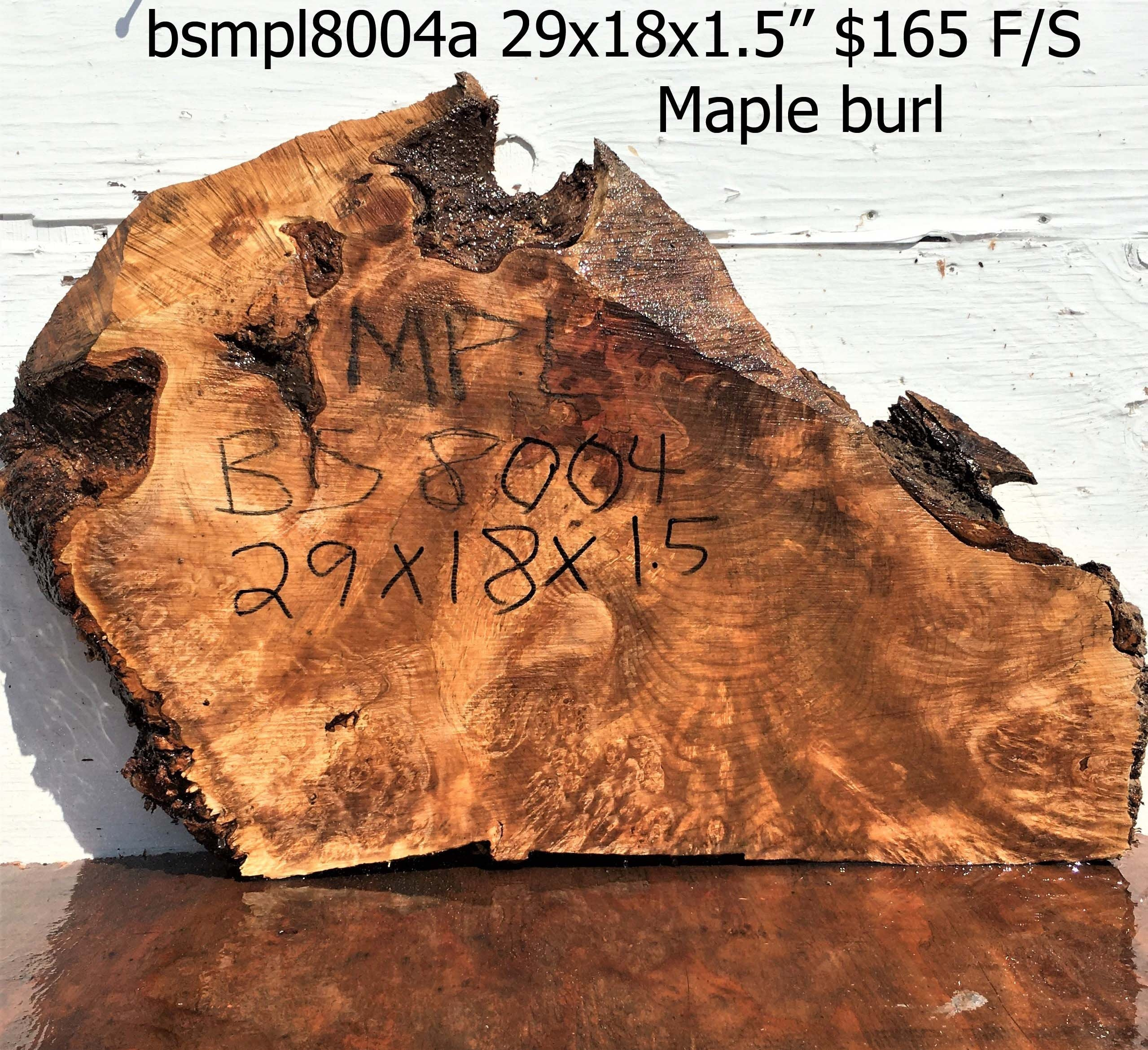 Maple burl slab | live edge table top | craft woods | bsmpl8004
