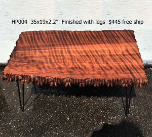 curly redwood slab | live edge table | HAIR PIN LEGS - HPOO4