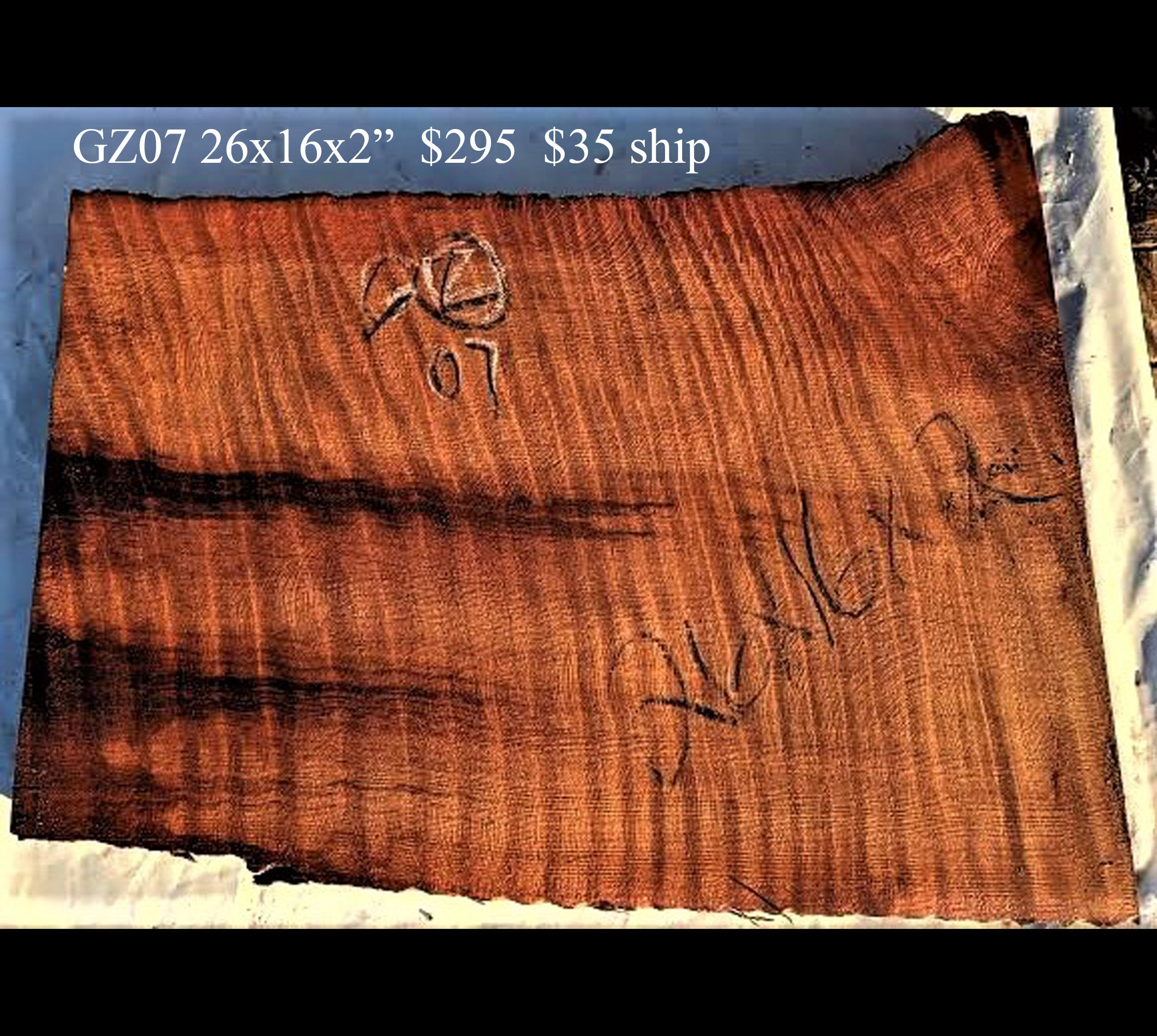 guitar billet | curly redwood | craft wood | carving wood- gz07
