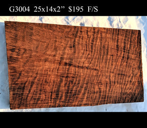 guitar billet | curly redwood | craft wood | carving wood- g3004