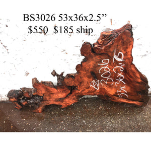 live edge woods | river table | redwood burl - bs3026