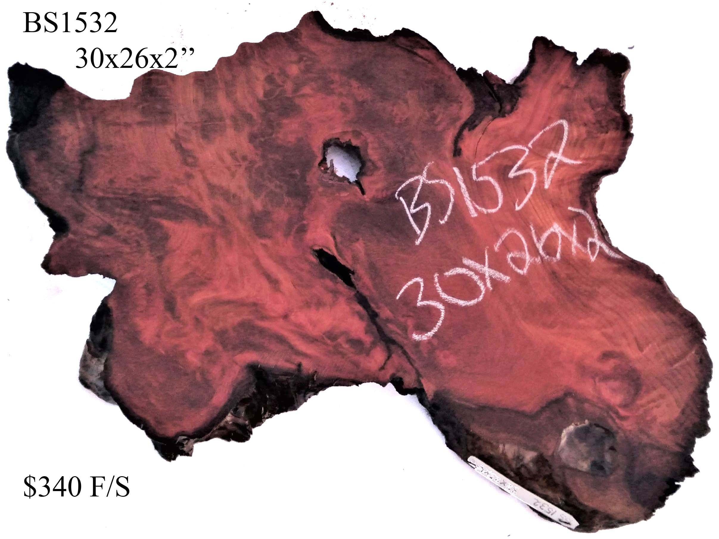 Live edge Redwood slab | Burl table | burl clock | trophy mount | BS1532