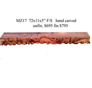 carved mantel | live edge fireplace mantel | rustic furnishings - MZ17