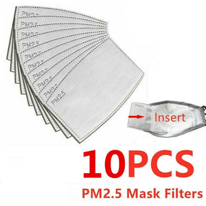 100 /10 pcs PM 2.5 Mask Filter Anti Haze 5 Layers N95 Mask Activated Carbon Filter Replaceable For Adults Mouth Mask Health Care