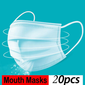 KN95 4-Ply Solid Color Disposable Dustproof FFP2 Face Mouth Masks Anti Influenza PM 2.5 Breathing Safety Masks Face CareElastic