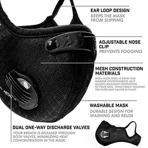Sport Dust Masks 5 ply PM2.5 Activated Carbon Filter Double breathing valve Mesh Masks KN95 same as N95