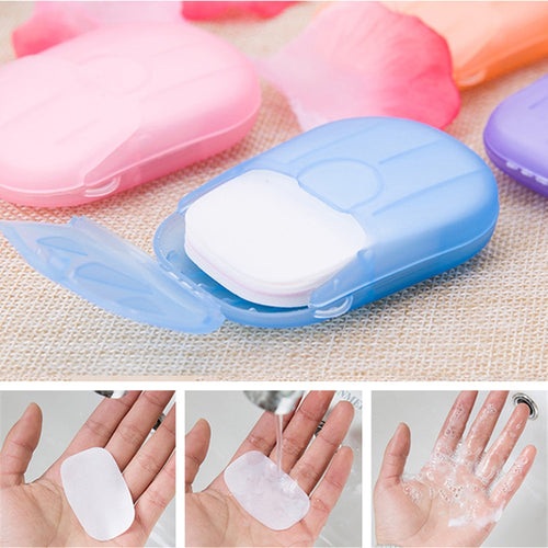 20 40 50 100 pcs/Box Travel Washing Hand Bath Soap Paper Scented Slice Sheets Foaming Soap Case Paper Disposable Mini Soap TSLM2