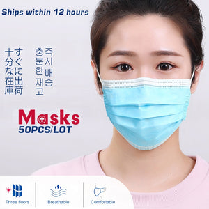 50-100 pcs Face Disposable Masks 3 Layers Dustproof Mask Facial Protective Cover Masks Anti-Dust Bacteria Proof Flu Face Masks