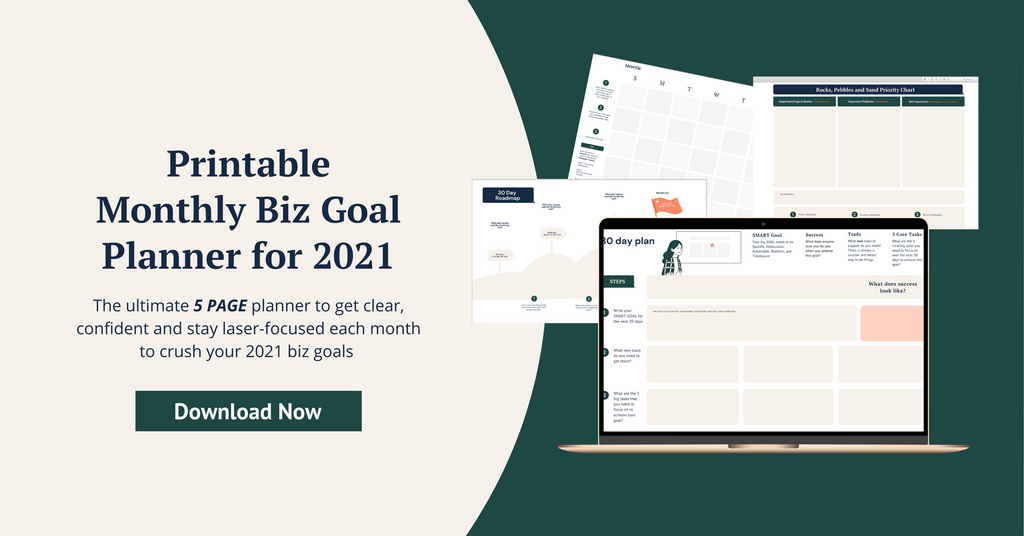 Printable Monthly Biz Goal Planner for 2021