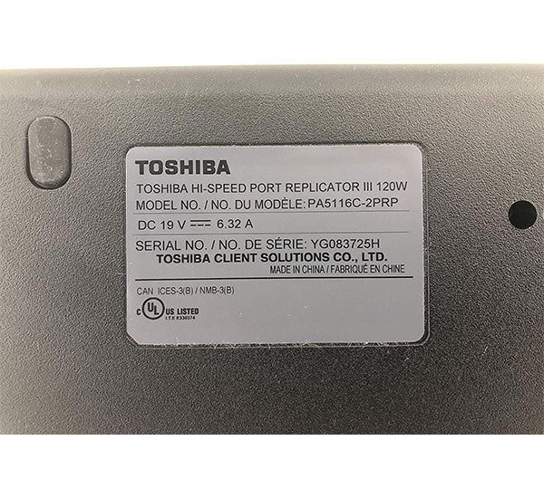 Toshiba Hi Speed Port Replicator III PA5116C-2PRP Docking Station
