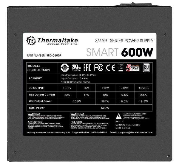Thermaltake Smart 600W ATX 12V V2.3/EPS 12V 80 Plus Certified Active PFC Power Supply PS-SPD-0600NPCWUS-W