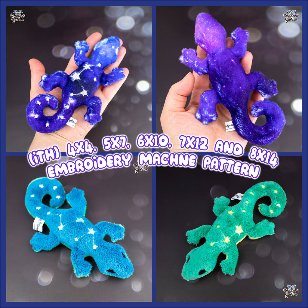 ITH Galaxy Gecko Plush Embroidery Pattern - Dragons' Garden