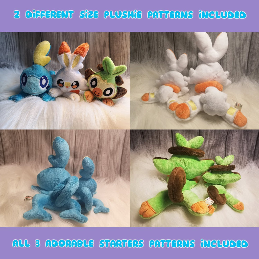ITH Grookey, Scorbunny and Sobble Plushie Pattern (Gen 8) - Dragons' Garden