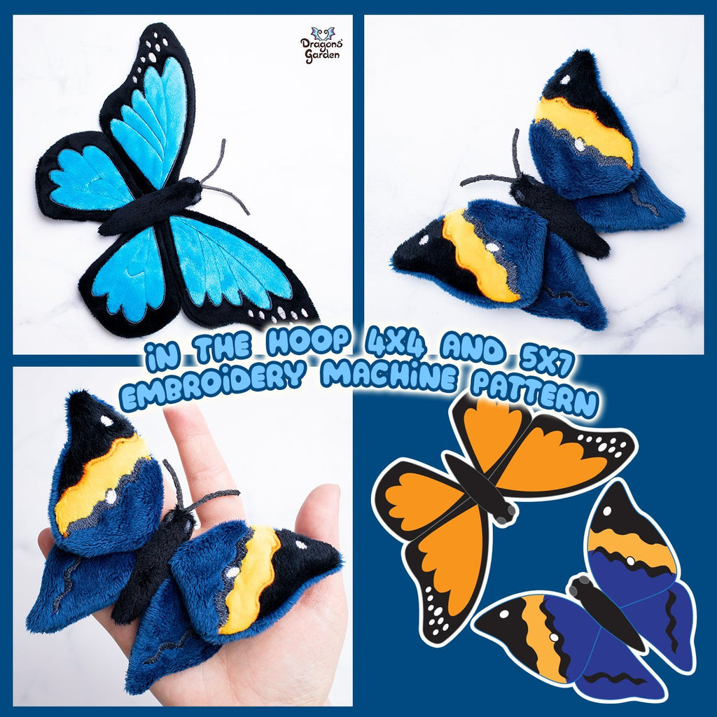 ITH Oakleaf & Monarch Butterfly Plushies Embroidery Pattern - Dragons' Garden