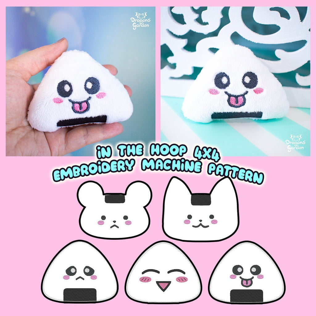 ITH Onigiri Rice Ball Keychain Charm Embroidery Pattern - Dragons' Garden
