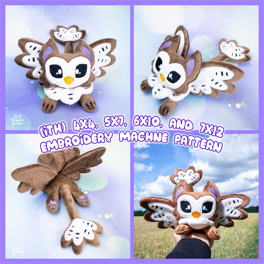 ITH Owl Griffin Plush Embroidery Pattern - Dragons' Garden