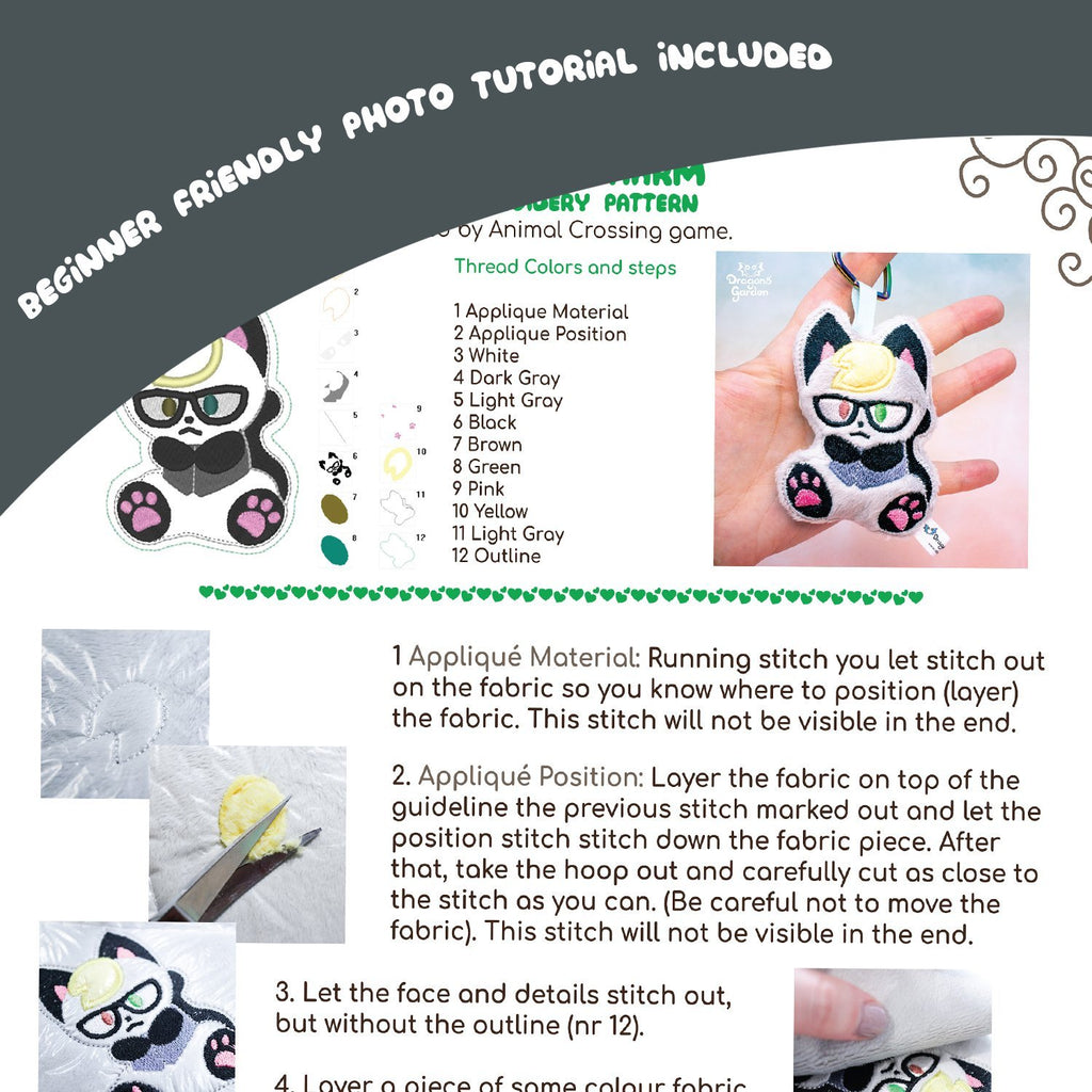 ITH Raymond Animal Crossing Keychain Charm Embroidery Pattern - Dragons' Garden