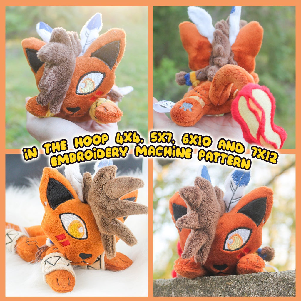 ITH Red XIII (Nanaki) Fire Lion Plush Embroidery Pattern - Dragons' Garden