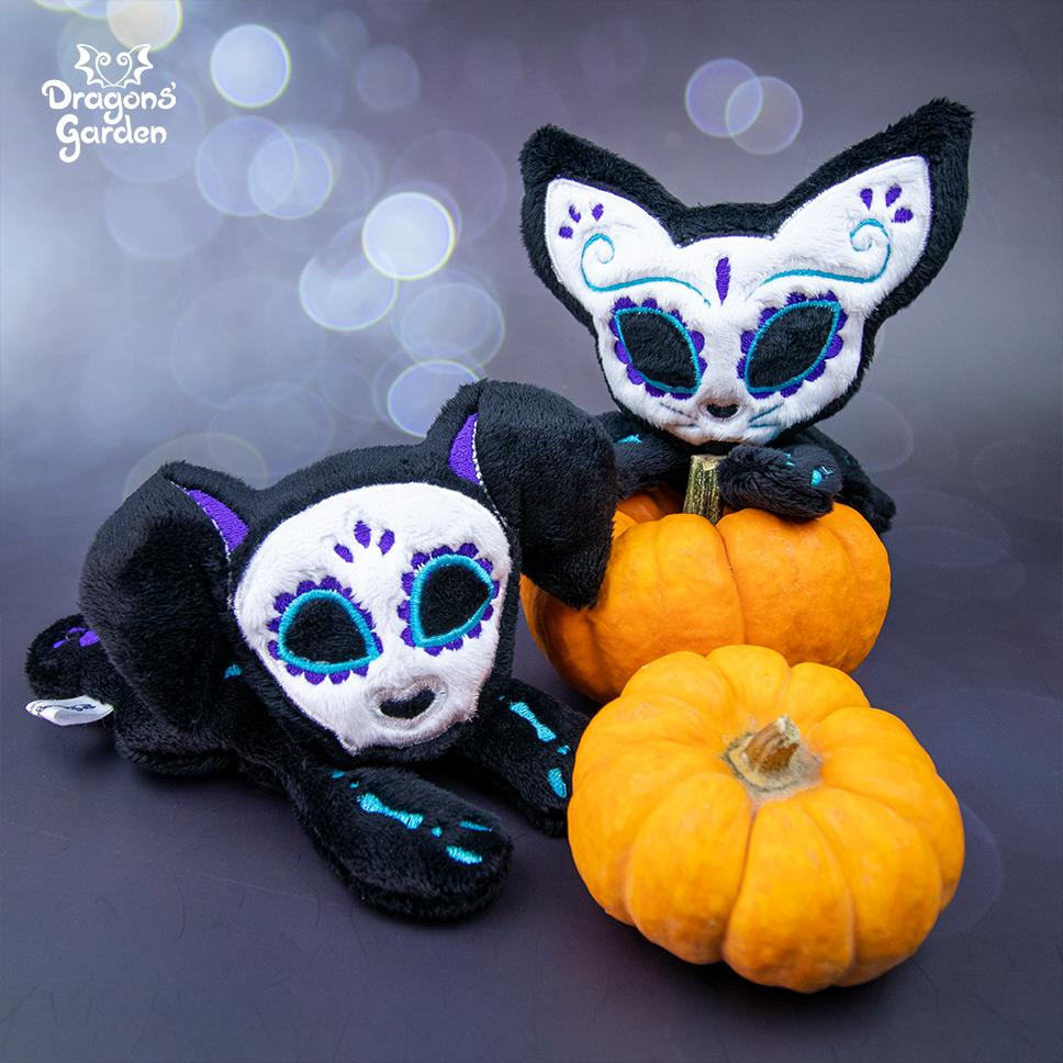 ITH Sugar Skull Kitty Plushie Embroidery Pattern - Dragons' Garden