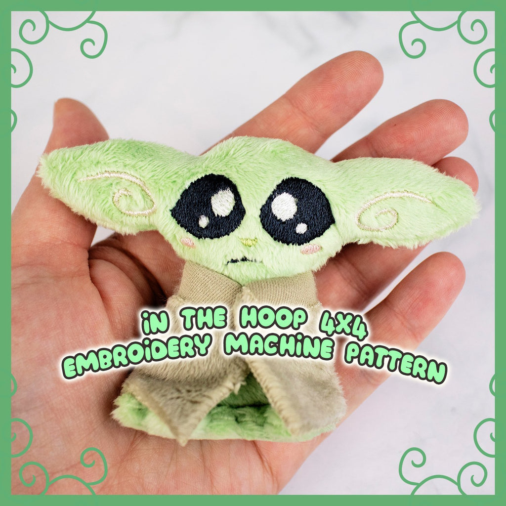ITH Tiny Green Alien Plushie Embroidery Pattern - Dragons' Garden