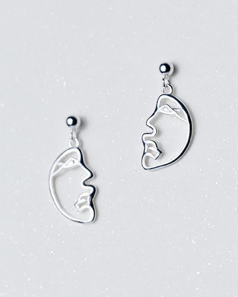 Shop sukoshi Abstract Face Dangle Earrings, profile style, sterling jewelry collection