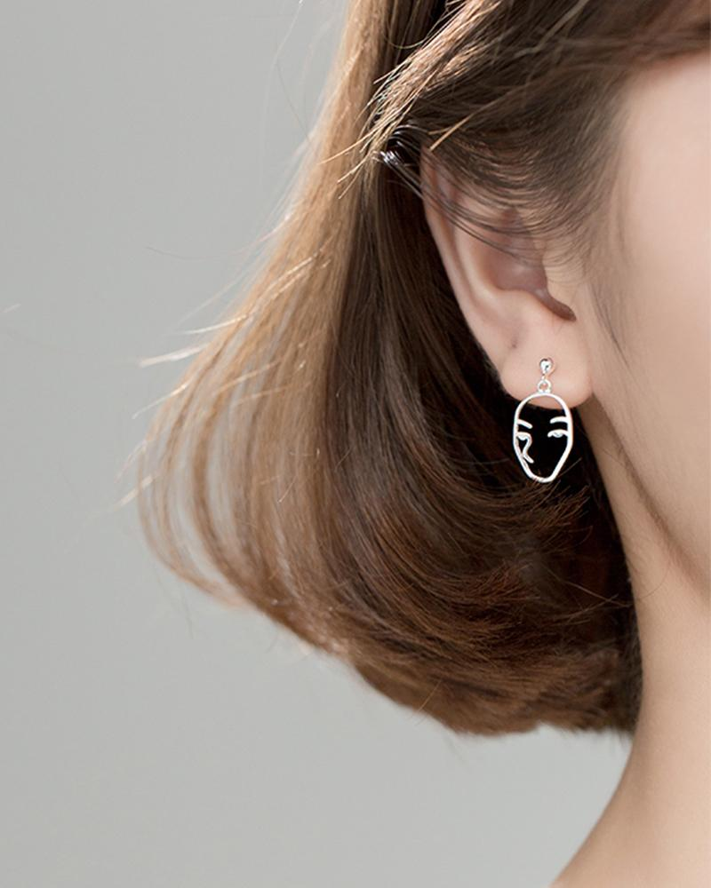 Shop sukoshi Abstract Face Dangle Earrings, full face style on model, sterling jewelry collection