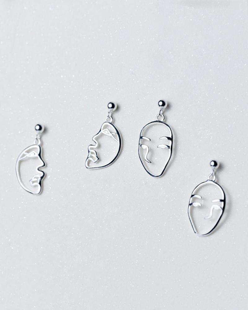 Shop sukoshi Abstract Face Dangle Earrings, 2 styles full face and profile, sterling jewelry collection