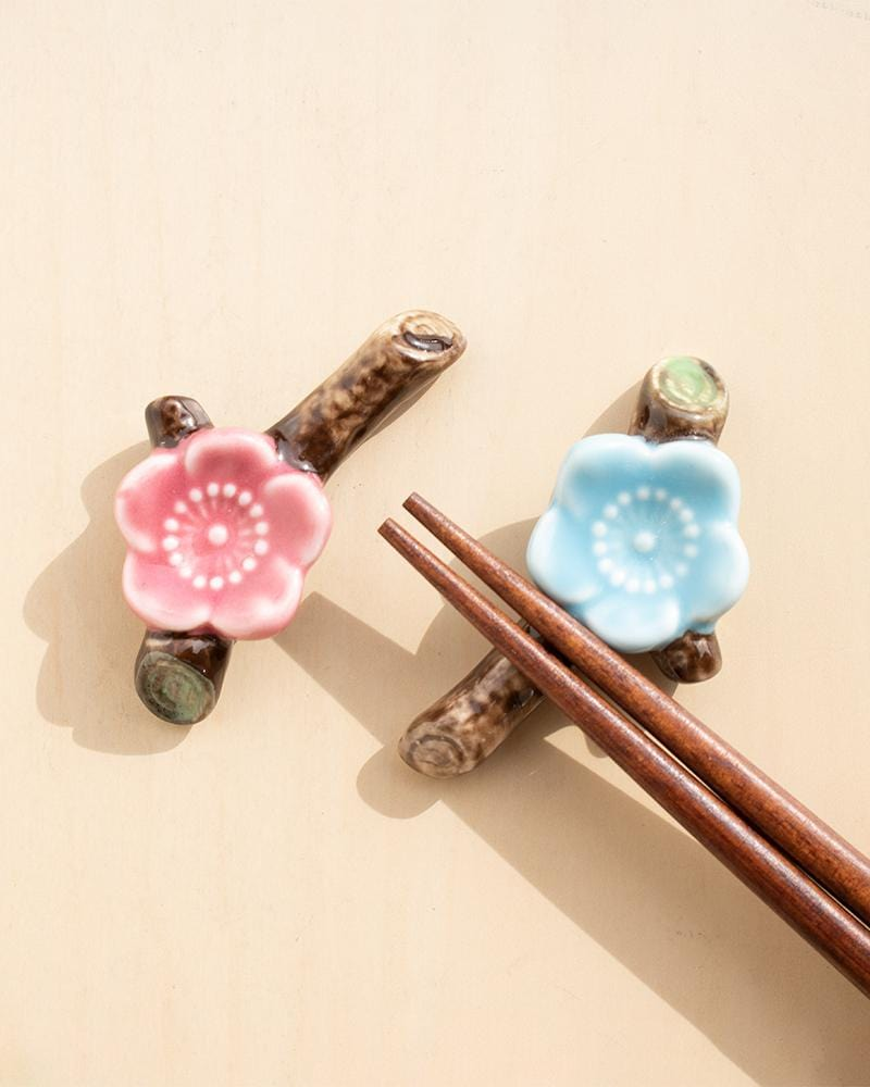 Blooming Sakura cutlery holder with chopsticks resting on top