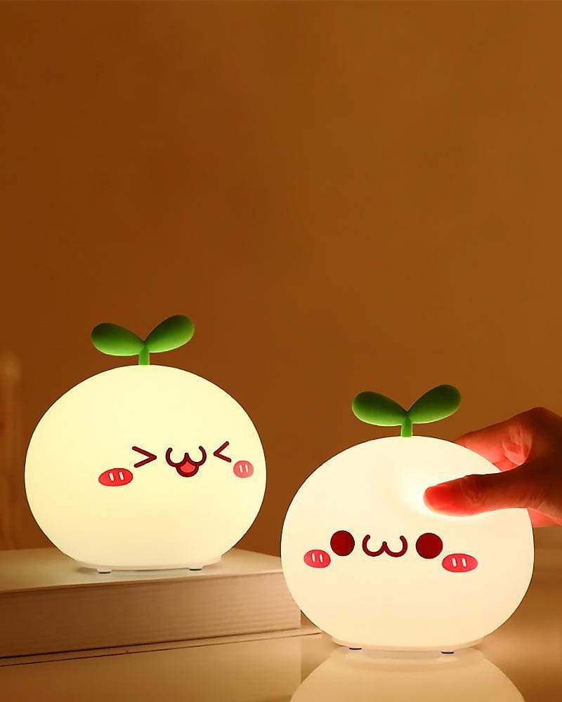 Budding Pop Night Light excited and smile mouth closed with hand squishing light