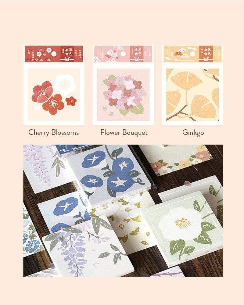 Cardlover Fancy Floral Sticky Notes Cherry Blossoms, Flower Bouquet and Ginkgo styles