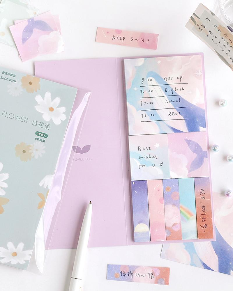 cardlover kokoro sticky book pack design display with 'florals' and 'whale watching' styles