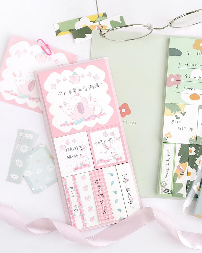cardlover kokoro sticky book pack design display with 'peach rabbit' and 'mind of a girl' styles