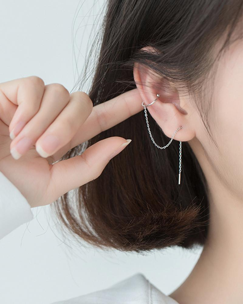 shop sukoshi Chain and Helix Cuff Earrings silver sterling jewelry collection on model