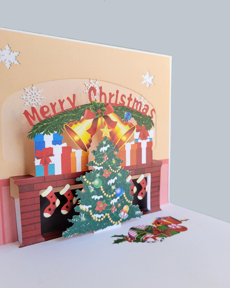 Merry Christmas hearth 3D pop-up card closed