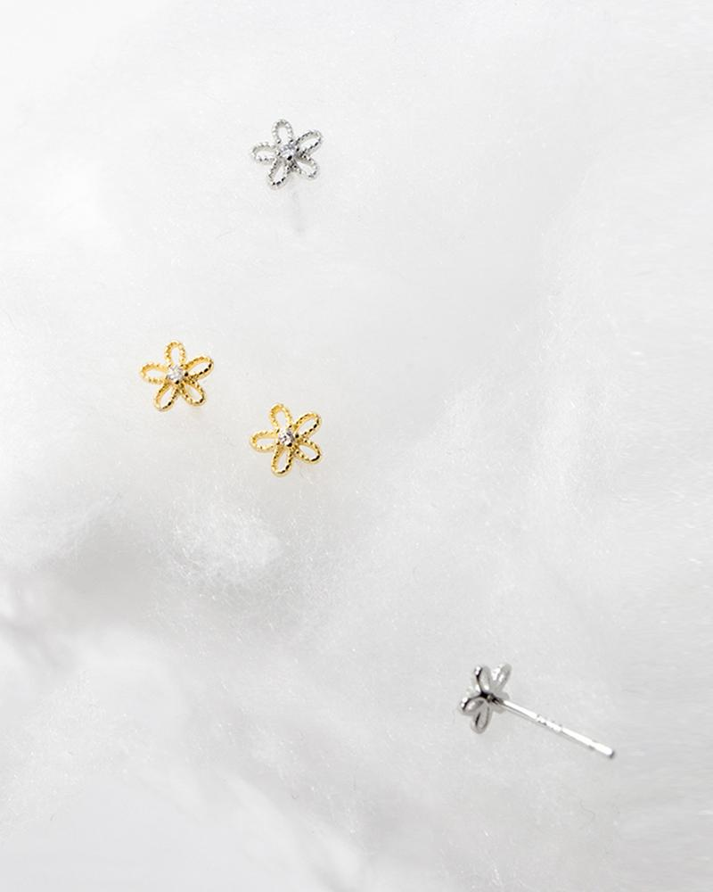 shop sukoshi Flower Wire Mini Stud Earrings in gold and silver sterling jewelry collection