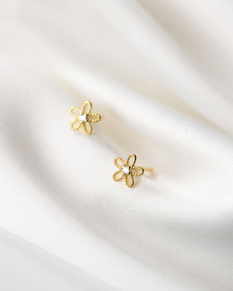 shop sukoshi Flower Wire Mini Stud Earrings in gold sterling jewelry collection
