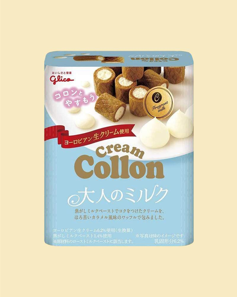 Tyr the Glico Milk Collon Cream Biscuits with a sweet and creamy filling.