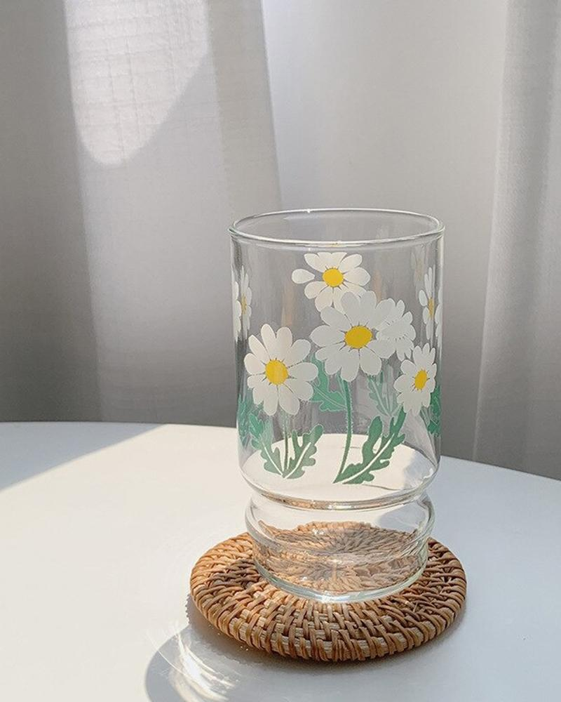 shop Hotzilla Daisy Glass Cup shown on coaster
