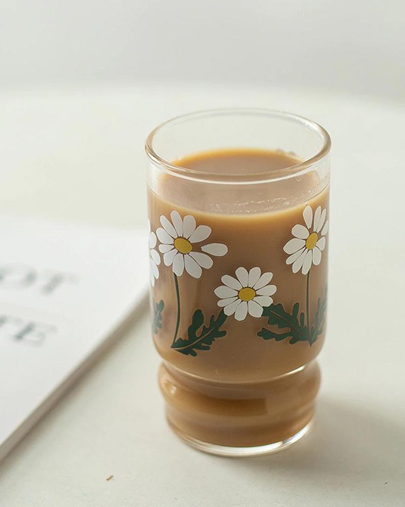 Shop Hotzilla Daisy Glass Cup shown with coffee