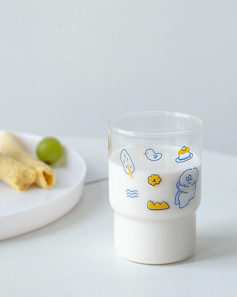 Shop Hotzilla Dessert Party Korean Glass Cup displayed with milk