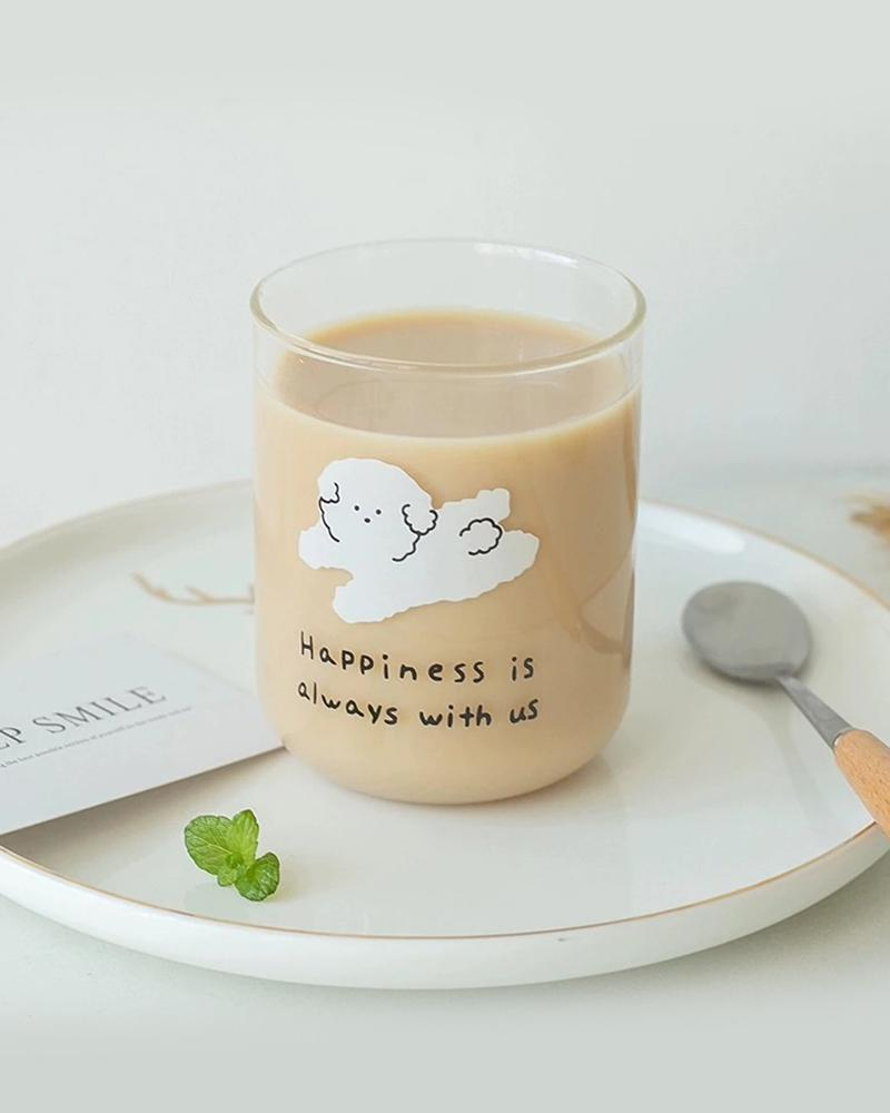 Shop Hotzilla Happiness is Always with Us Glass Cup shown with coffee