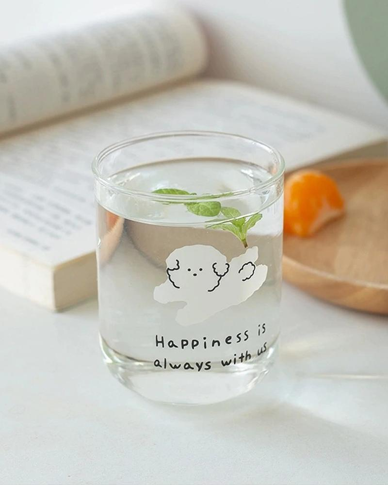 shop Hotzilla Happiness is Always with Us Glass Cup with water