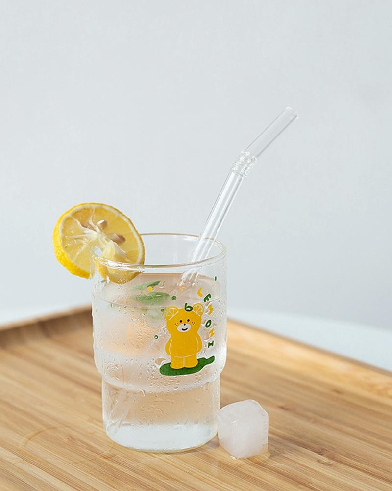 Shop Hotzilla Lemon Bear Korean Glass Cup with lemon and iced water