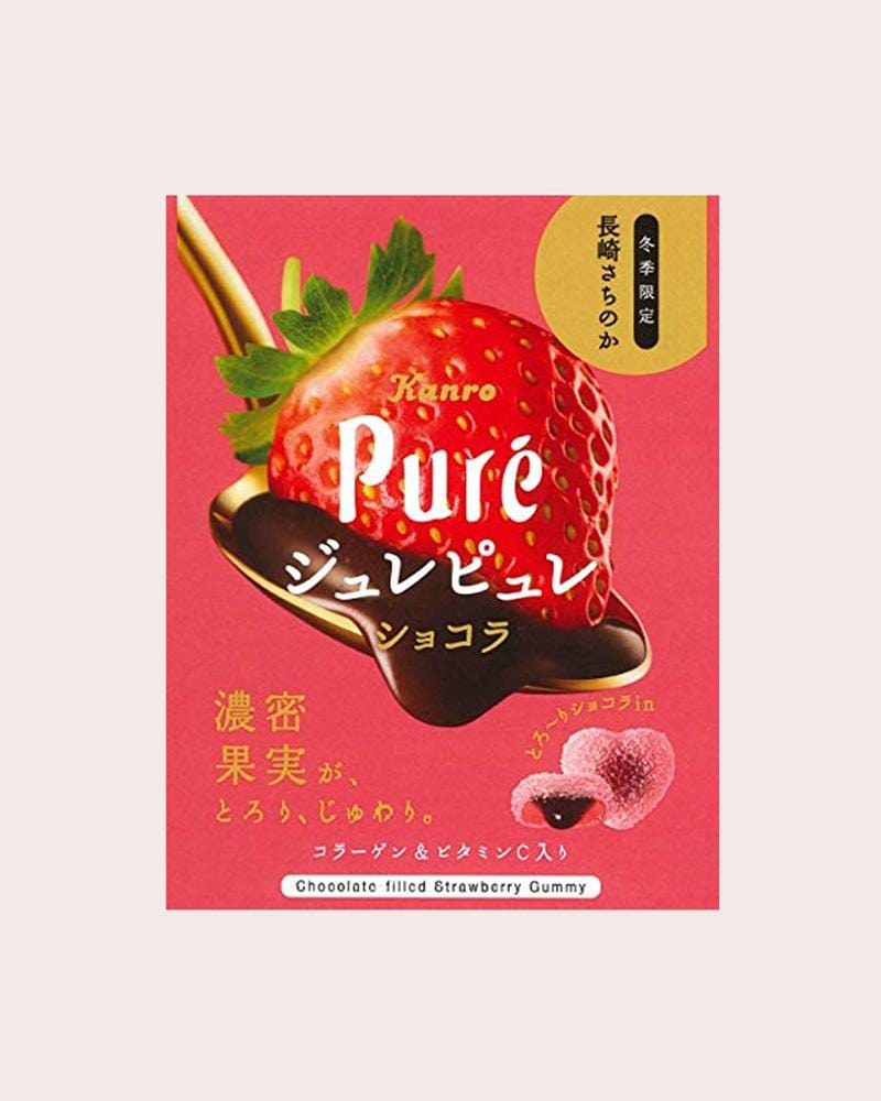 Kanro Puré Chocolate Filled Strawberry Gummy